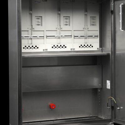 notranjost - inox elektro omara za 3 števce